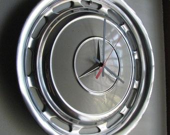 Gray Vintage Mercedes Hubcap Clock No. 2371