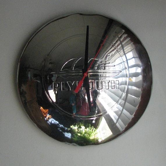 SALE - 1940's Vintage Plymouth Hubcap Clock