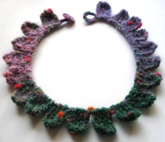 Knitted Necklace Round Petals Lilac Shell Buttons Japanese Yarn Noro Blossom Fibre Art Textile Art