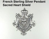 925 FRENCH Sterling Silver PENDANT Crown SACRED HEART Swords Drape CROSS-pdsacredh
