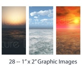 Digital Horizons -- (28) 1 x 2 Inch Graphics -- Digital Collage Sheet