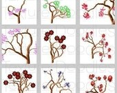 63 Painted Bonsai - 1 x 1 Inch Graphics -- Digital Collage Sheet