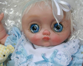 "OOAK 8"" Hand Sculpted Mini Baby Doll ""Sugaree"" BIG EYES"