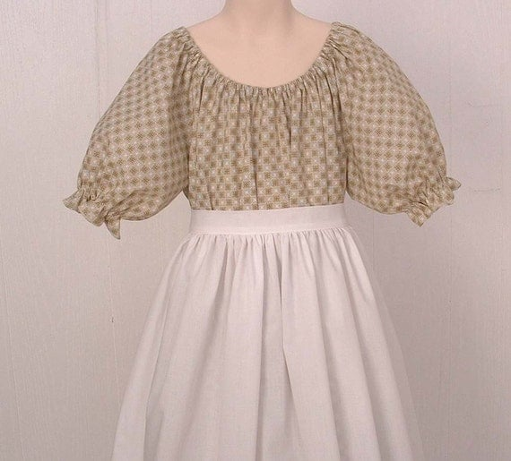Pioneer Dress Costume  Pioneer Prairie Colonial  Size 14/16  green  Ready to Ship