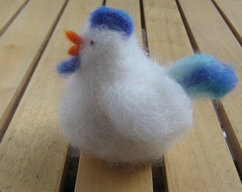 Needle felted Chicken Little - blue