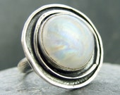 Moon over Saturn - moonstone and sterling silver ring