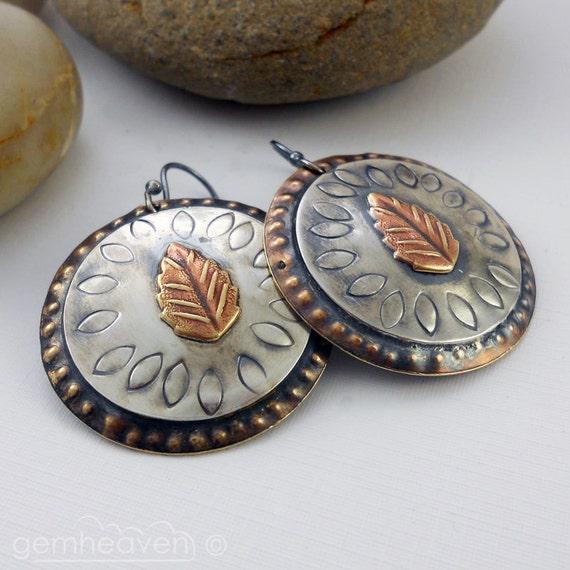 Sterling silver and brass tribal earrings - Gladiatrix III -