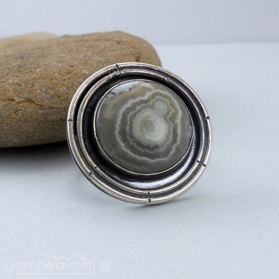 Sterling silver and Ocean Jasper cabochon ring Hallmarked - Earth Child -
