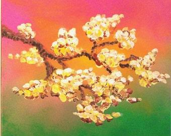 Modern Tree Art, Spring flowering tree 12x12 Square Original Acrylic Painting