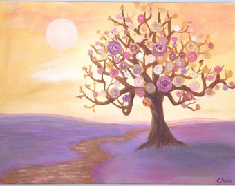 Fantasy surreal landscape painting, Original tree painting, 18 x 24 inch Large acrylic canvas - Purple, gold, yellows
