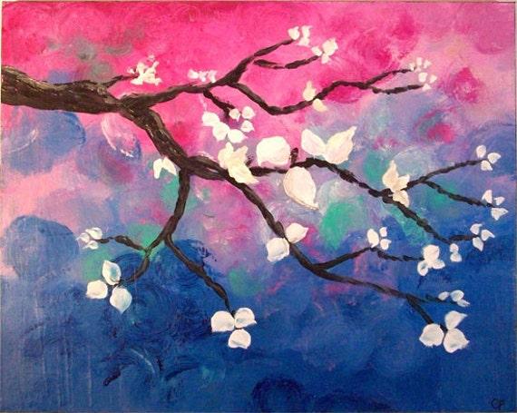Modern Tree Art, 16x20 Large Original Acrylic Painting, bright colorful branch, red fushia blue