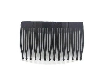 6 Plastic Hair Combs Black- 70mm (3 inch)