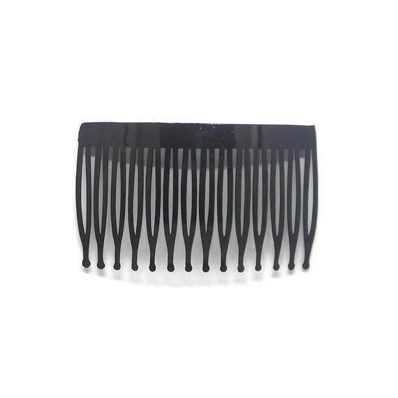 6 Plastic Hair Combs Black- 70mm (3 inch)