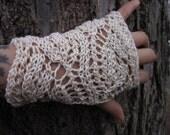 Dayflower fingerless gloves- ivory