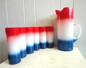 Red White and Blue Fourth of July Pitcher and Tumbler set