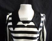1960s Classic Mod Black and White Striped Satin Jailbird Mini Dress Halloween