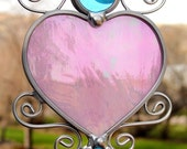 Pink Iridescent Stained Glass Heart Suncatcher