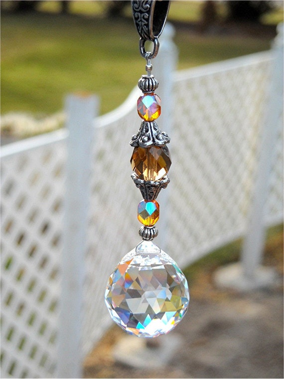 Car Suncatcher Crystal Prism Car Charm Feng Shui Topaz Crystal
