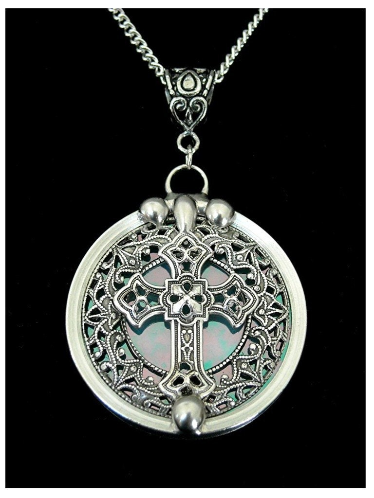 stained glass filigree celtic cross pendant necklace. Black Bedroom Furniture Sets. Home Design Ideas