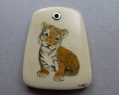 The Tiger Cub Hand Etched Polychrome Scrimshaw on Fossil Mammoth Ivory