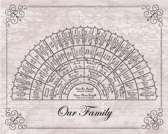 Family History Chart - 6 Generation Personalized Family Tree