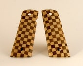 Walnut and Maple Checkerboard Pattern Full Size 1911 Pistol Grips