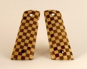 Walnut and Maple Checkerboard Pattern Full Size 1911 Pistol Grips