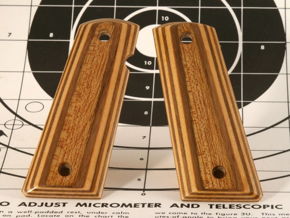Laminated Walnut and Maple Full Size 1911 Pistol Grips