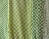 Vintage Bed Sheet Bundle Green Plaid Gingham Flat Sheet Cutters 479
