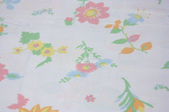 Vintage Full Flat Sheet Pastel Pink Yellow Orange Flowers Bed Reclaimed Linens Bedding