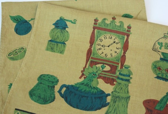 Vintage Tea Towels Set of 2 Pair Olive Teal Brown Kitchen Retro 611