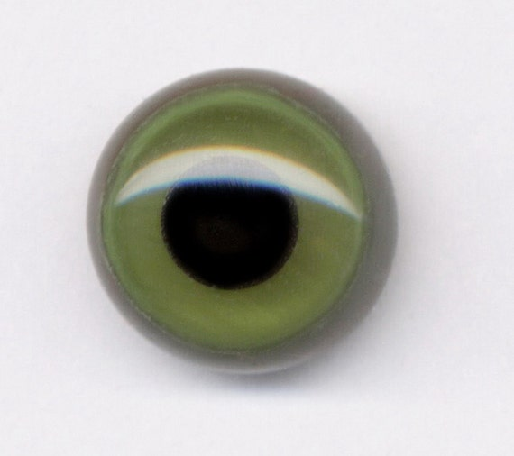 Unique handmade one pair of green whit dark round on grey glass eyes for toy and teddybear