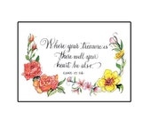 Bible verse Card with Flowers
