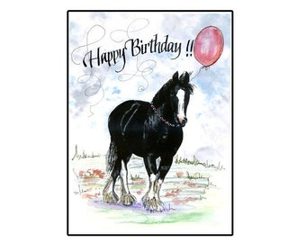 Handmade Clydesdale Birthday Horse Card