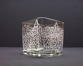 Glass Cube Candle Holder . Hand Engraved,  'Branches And Leaves' . Featured On The Front Page