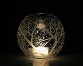 Glass Globe Candle Holder . 'Reaching Branches And Floating Flakes . Hand Engraved