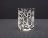 Glass Votive Holder, Hand Engraved With 'Reaching Branches'
