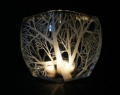 Medium Glass Tapered Candle Holder . Hand Engraved . 'Reaching Branches'