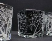 Set  Of  4  'Four Seasons'  Candle Holders . Hand Engraved Glass . Winter, Spring, Summer, Fall . Woodland Decor