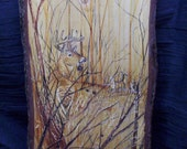 Deer Plaque etched and stained