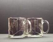 SALE . 2  Hand Engraved Glass Coffee Mugs . SALE