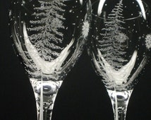 2 Wine Glasses  'Fir Tree and Floating Flakes'  Hand Engraved Winter Tableware Wedding Gift