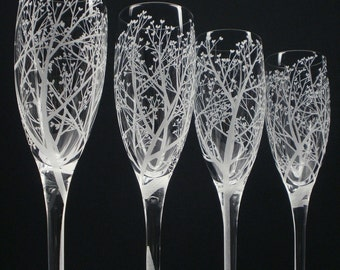 Tree Of Love 4 Champagne Glasses Hand Engraved Clear Crystal Glass Bridal Party Gift Wedding Flutes