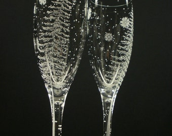 Fir Tree And Floating Flakes 2 Champagne Flutes Hand Engraved Winter Wedding