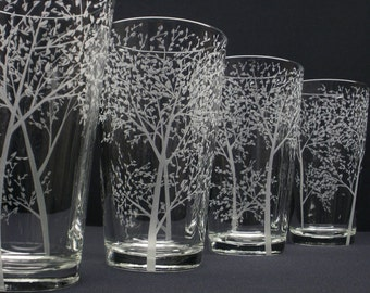 4 Pint Glasses Hand Engraved . 'Branches and Leaves' . Bridesmaid and Groomsmen Beer Glasses