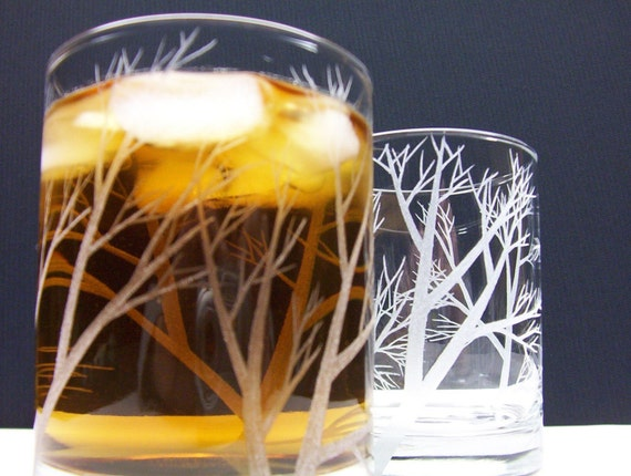 2 Double Old Fashioned Drinking Glasses . Hand Engraved With 'Reaching Branches'