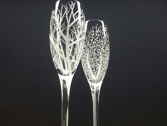 Two Hand Engraved Champagne Flutes . 'Reaching Branches'  and  'Branches and Leaves'