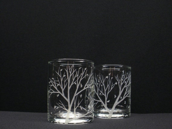 Falling Leaves . Two Votive Holders . Hand Engraved
