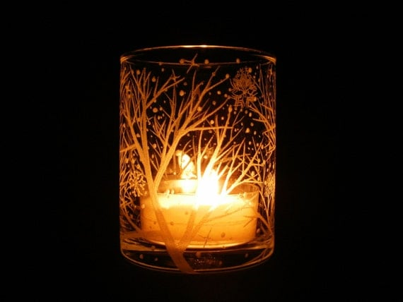 Reaching Branches with Floating Flakes . Hand Engraved Glass Candle Holder