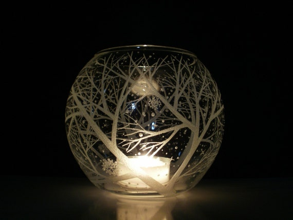 Snowflakes and Branches Candle Holder Glass Globe . 'Reaching Branches And Floating Flakes . Hand Engraved